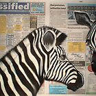 Zebra's in the Newspaper by Cherie Roe Dirksen