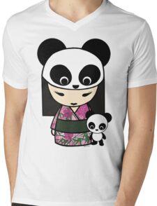 Kokeshi Doll with Panda Mens V-Neck T-Shirt