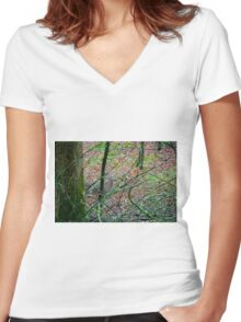 Sneak a Peak Women's Fitted V-Neck T-Shirt