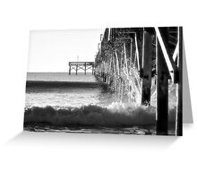 Crashing Waves At Pier B&W Greeting Card