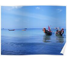 Thai Boats at rest, Koh Tao Island, Thailand Poster