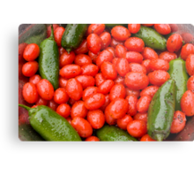 Hot Peppers and Cherry Tomatoes Metal Print