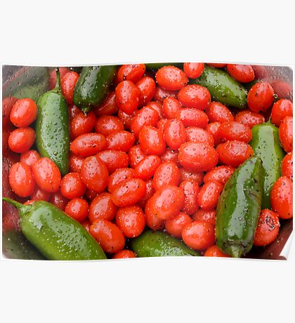 Hot Peppers and Cherry Tomatoes Poster