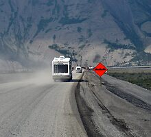 I See Red - Roadwork at Kluane Lake by Barbara Burkhardt