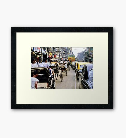 Peak hour, Calcutta 1980 Framed Print