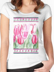 SOFT SHADES OF PINK - ADORABLE PINK TULIPS Women's Fitted Scoop T-Shirt
