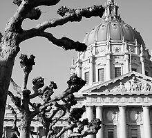 City hall nobbled trees cold sky by almosttrinity