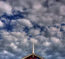 hdr sussex calvary pentecostal church glass steeple dramatic clouds by Jamie Roach