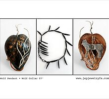 Wolf Pendant and Wolf Collar (inspired from an ancient Cherokee legend)  by Jackie Podlaski