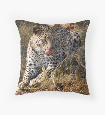 She's so sneaky - Female leopard, Okavango Delta Throw Pillow