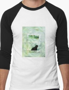 Black Cat Looking out a Window Impression Men's Baseball ¾ T-Shirt