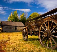 Nevada City Ghost Town, Cart and Cabin. Montana USA. by PhotosEcosse