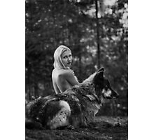 A Wolf and His Girl - Protector  Photographic Print