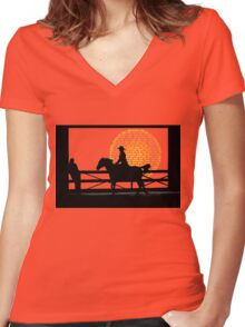 Cowgirl  -  Collaboration Brunet & Brunet Women's Fitted V-Neck T-Shirt