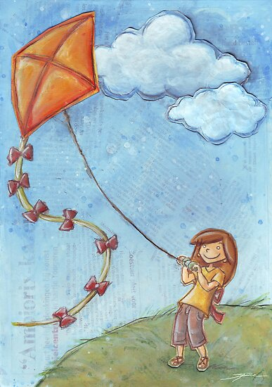 Flying a kite by Ine Spee
