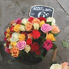 Garden Roses in Metal Pail by Christine Pierce