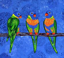 Rainbow Lorikeets (square version) by Lisa Frances Judd~QuirkyHappyArt