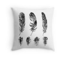 hand drawn feathers design Throw Pillow