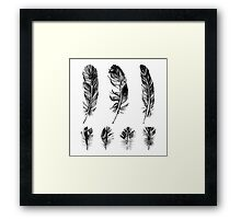 hand drawn feathers design Framed Print