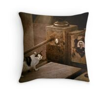 Cat on tombstone Throw Pillow
