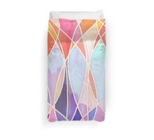 Purple & Peach Love - abstract painting in rainbow pastels Duvet Cover