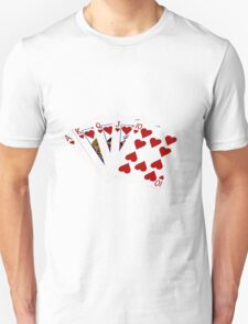 Poker Hands - Royal Flush Hearts Suit T-Shirt