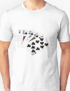 Poker Hands - Royal Flush Clubs Suit T-Shirt