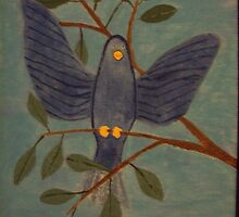 blue bird by JennFamousArt