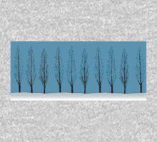 Poplars in a blue sky One Piece - Short Sleeve