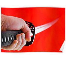 Hand holding Japanese sword katana Poster