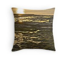 Sunlight over the rock pools and seaweed Throw Pillow