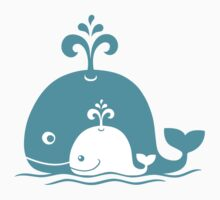 Mom Whale and baby Whale. One Piece - Short Sleeve