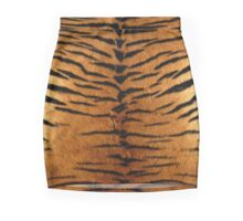Tiger Strips Fur Mini Skirt
