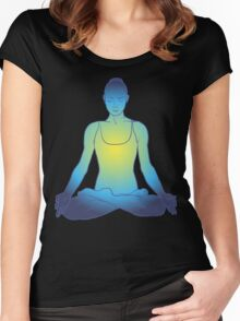 illustration beautiful woman doing yoga meditation Women's Fitted Scoop T-Shirt