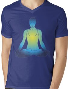 illustration beautiful woman doing yoga meditation Mens V-Neck T-Shirt