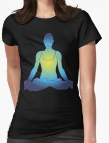 illustration beautiful woman doing yoga meditation Womens Fitted T-Shirt
