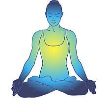 illustration beautiful woman doing yoga meditation Photographic Print