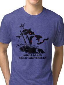 Great Lakes, Great Shipwrecks - Black Tri-blend T-Shirt