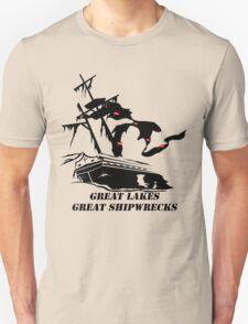 Great Lakes, Great Shipwrecks - Black T-Shirt