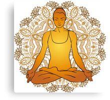 beautiful woman doing yoga meditation Canvas Print