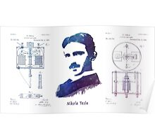 Nikola Tesla Patent Art Electric Arc Lamp Poster