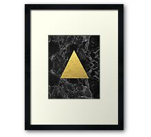 Black Gold Marble Tri - dark solid classic gold foil on marble cell phone case for college dorm  Framed Print