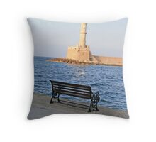Chania Lighthouse Throw Pillow
