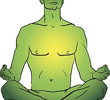 illustration man sitting in the lotus position doing yoga meditation by OlgaBerlet