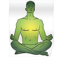 illustration man sitting in the lotus position doing yoga meditation Poster