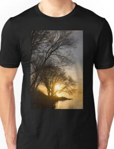 Early Gold Through the Willow Branches - A Sunrise on the Shore of Lake Ontario Unisex T-Shirt