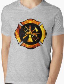 Flaming Maltese Cross Mens V-Neck T-Shirt