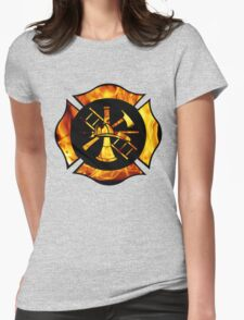 Flaming Maltese Cross Womens Fitted T-Shirt