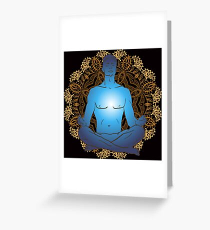 man sitting in the lotus position doing yoga meditation Greeting Card
