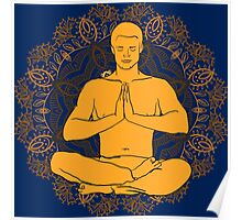 man sitting in the lotus position doing yoga meditation Poster